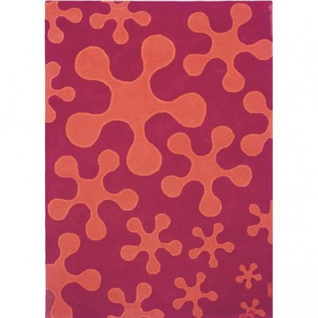 Tapis en laine prune et orange Splash par Ligne Pure 120 x 170 cm