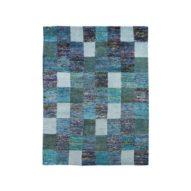 Tapis Patchwork Turquoise Sari par Home Spirit