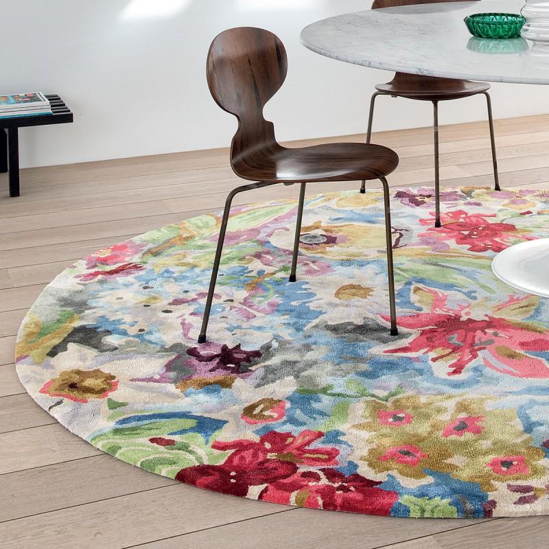 Tapis rond par Ligne Pure 230 cm fleuri et coloré en viscose
