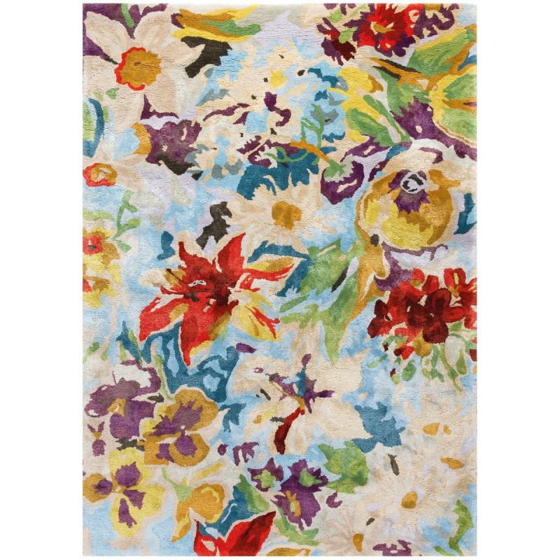 Tapis rectangulaire par Ligne Pure fleuri et coloré en viscose