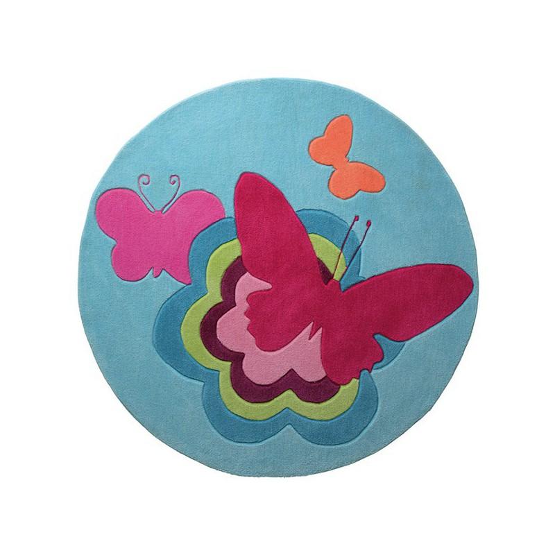 Tapis Rond pour Enfant Butterflies Turquoise par Esprit Home