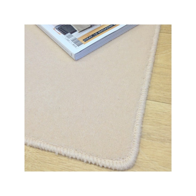 Tapis sur mesure en laine Ecru gamme Velvet finition surjet