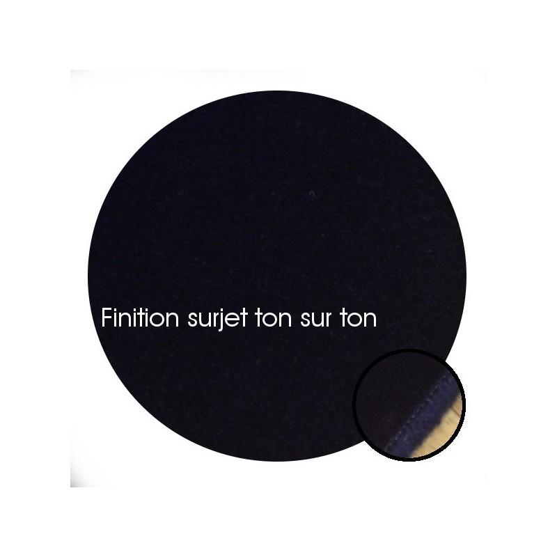 Tapis sur mesure Rond en laine Bleu Foncé gamme Velvet finition surjet