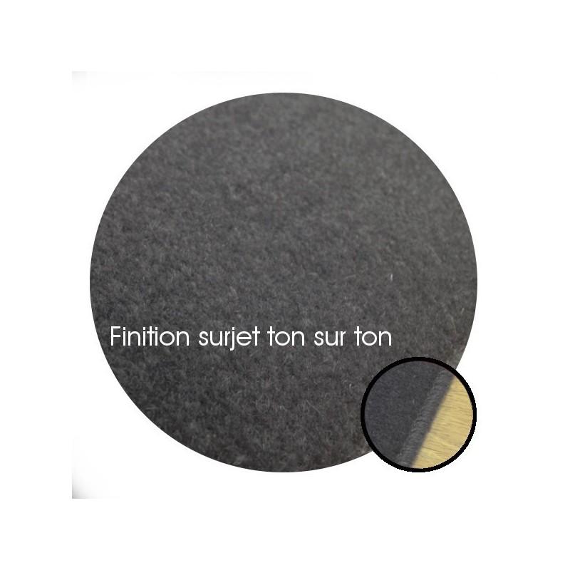 Tapis sur mesure Rond en laine Gris Charbon gamme Velvet finition surjet