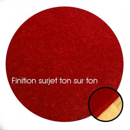 Tapis sur mesure Rond en laine Rouge impérial gamme Velvet finition surjet