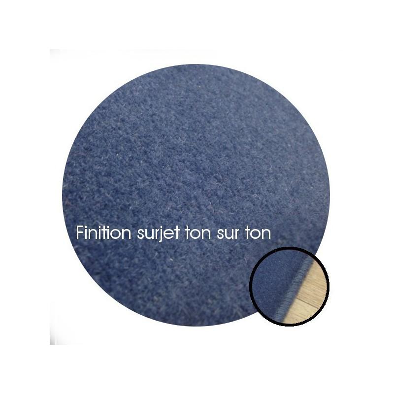 Tapis sur mesure Rond en laine Bleu Windsor gamme Velvet finition surjet