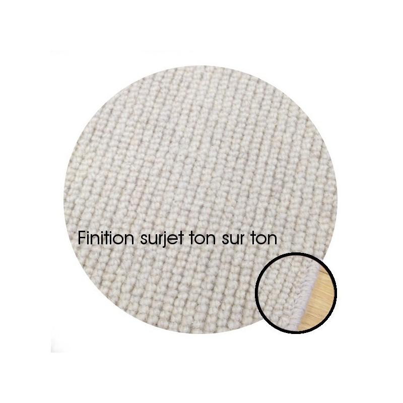 Tapis sur mesure Rond en laine Blanc Perlé gamme Dubai