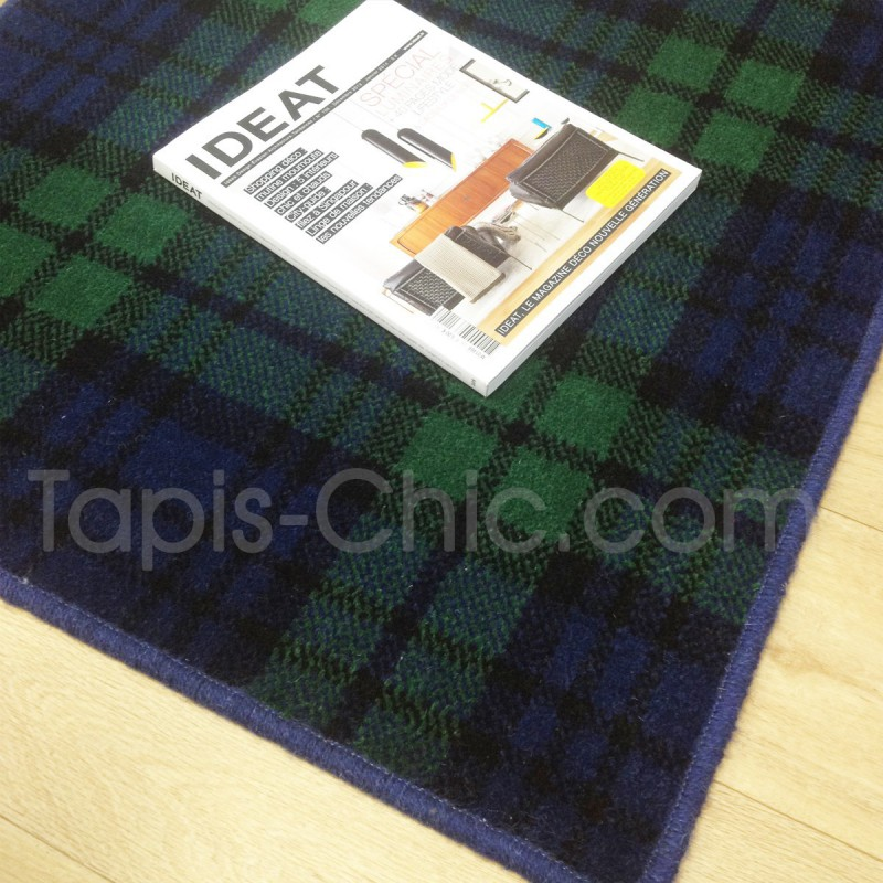 Tapis sur mesure en laine motif tartan tons bleus