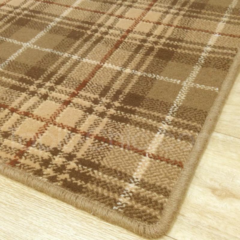 Tapis sur mesure en laine motif tartan tons beiges