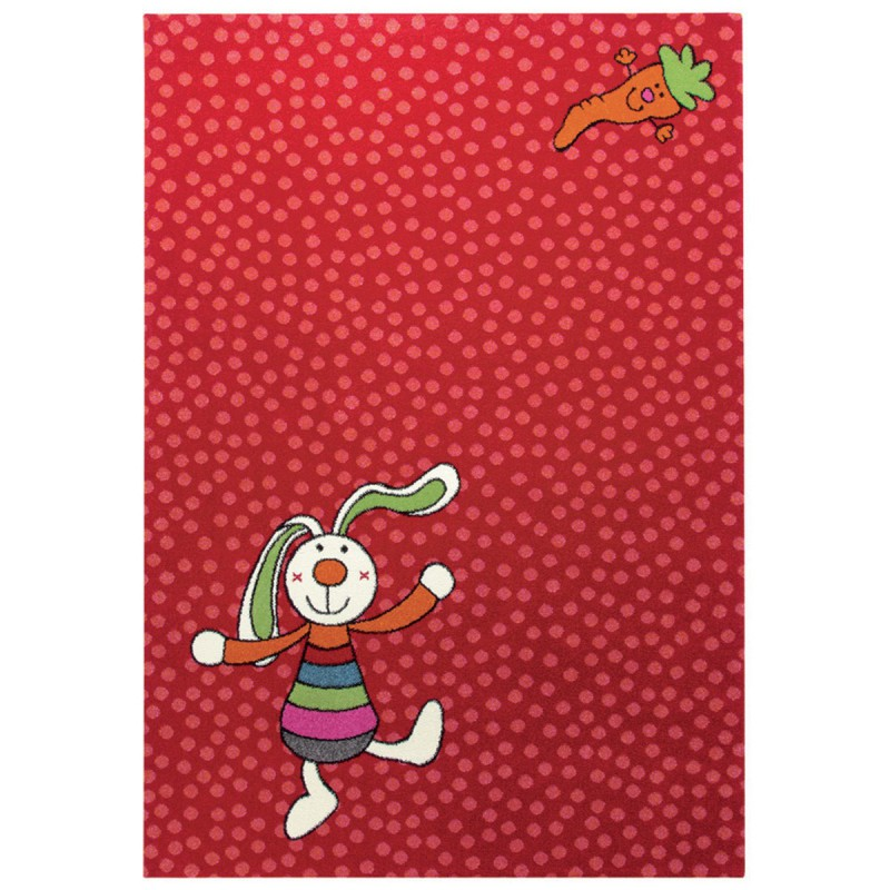 Tapis Enfant Rainbow Rabbit Rouge par Sigikid