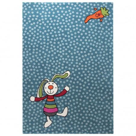 Tapis Enfant Rainbow Rabbit Bleu par Sigikid