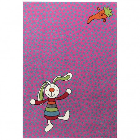Tapis Enfant Rainbow Rabbit Rose par Sigikid