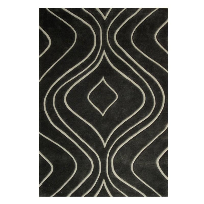 Tapis design vague avec du relief gris foncé et fines vagues en gris clair