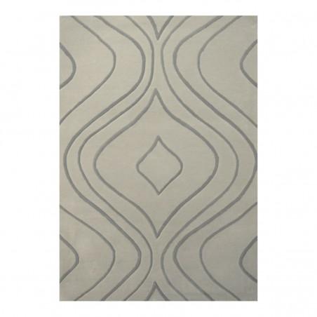 Tapis design vague avec du relief gris clair et fines vagues en gris plus foncé