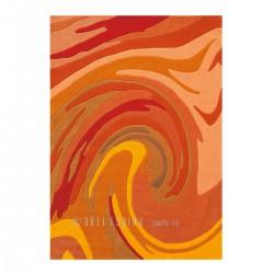 Tapis Moderne Action Painting Orange