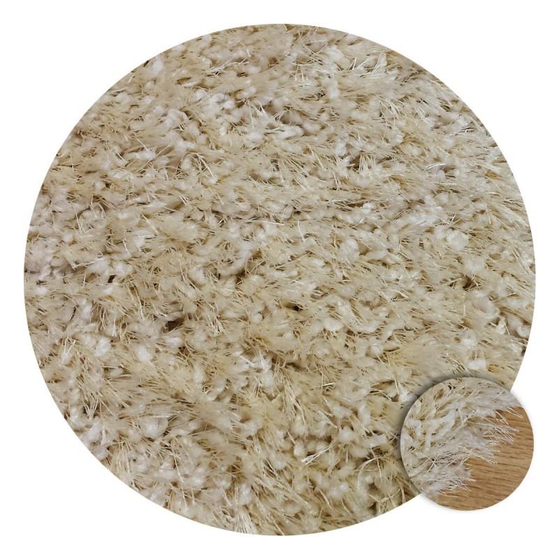 Tapis Shaggy blanc écru rond sur mesure par Tapis Chic Collection