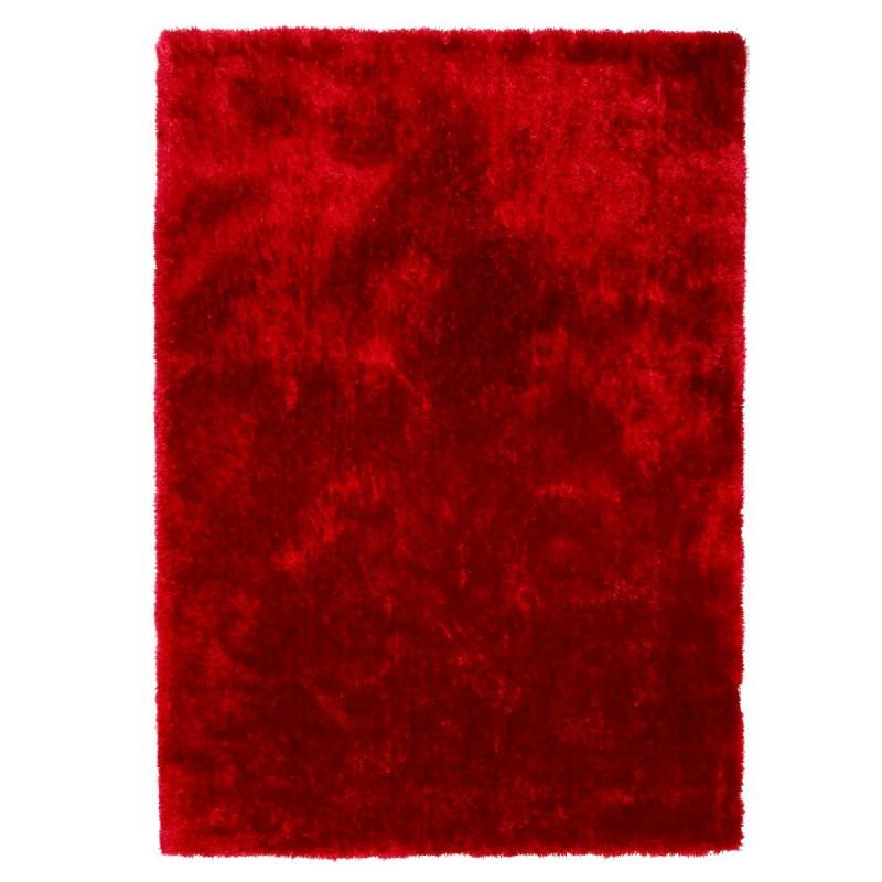 Tapis shaggy rouge-bordeaux en polyester par Tapis Chic Collection