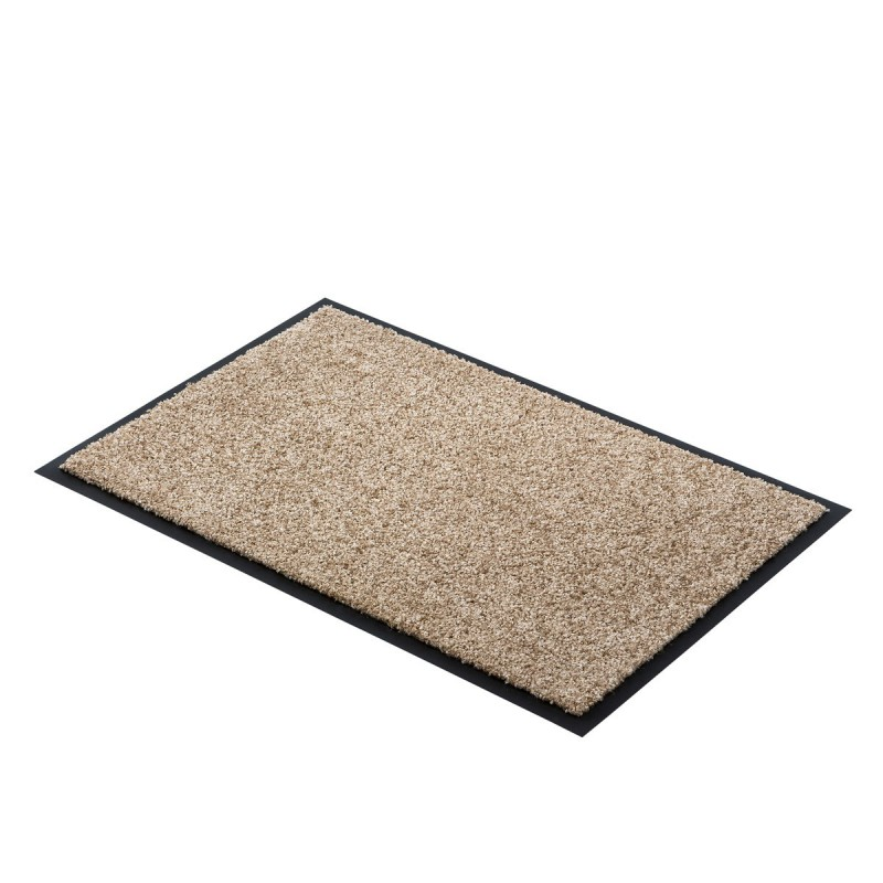 Paillasson marron clair uni lavable en machine par Tapis Chic Collection