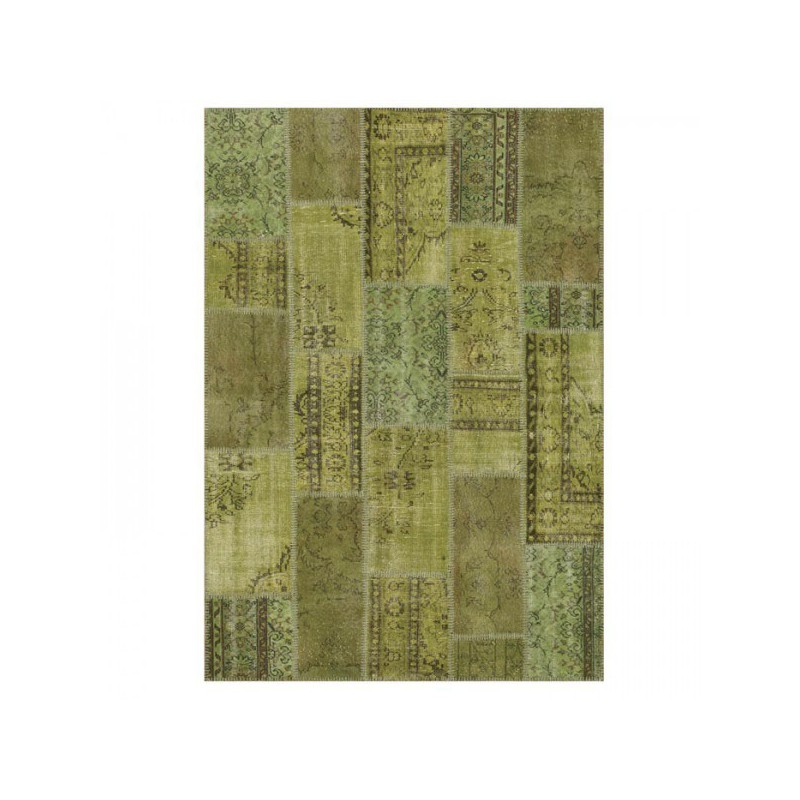 Tapis Patchwork Kilim Up-Cycle Vert par Angelo