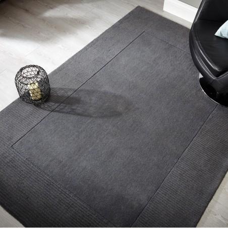 Tapis rectangulaire gris uni 100% Laine Sienna Light Grey par Flair Rugs