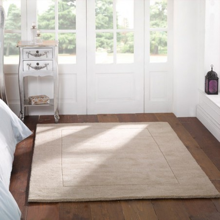 Tapis rectangulaire beige uni 100% Laine Sienna naturel par Flair Rugs