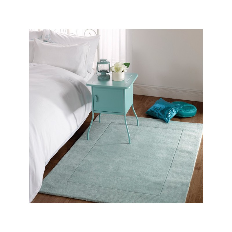 Tapis rectangulaire bleu canard uni 100% Laine Sienna bleu vert céladon par Flair Rugs