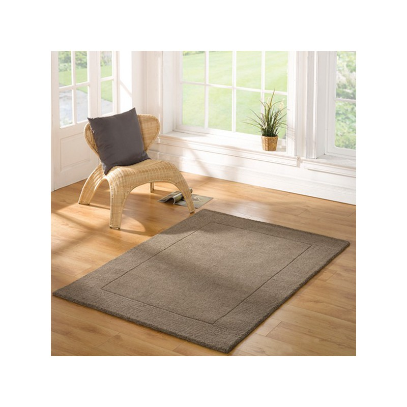 Tapis rectangulaire taupe uni 100% Laine Sienna taupe par Flair Rugs