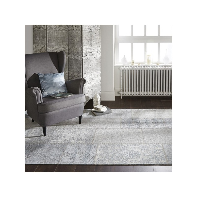 Tapis rectangulaire Patchwork Kilim gris bleu Patchwork Chenille par Flair Rugs