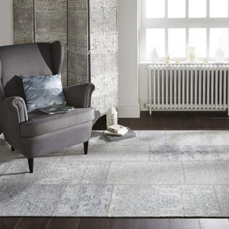 tapis rectangulaire patchwork kilim gris bleu patchwork. Black Bedroom Furniture Sets. Home Design Ideas