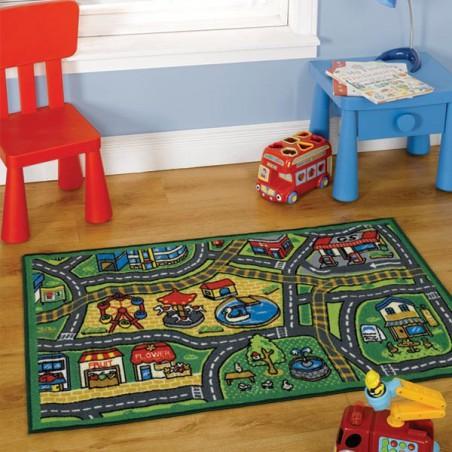 Tapis à motifs urbains de jeux pour chambre enfant la Ville Vivante