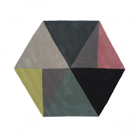 Tapis hexagonal Sato Lime par Linie Design
