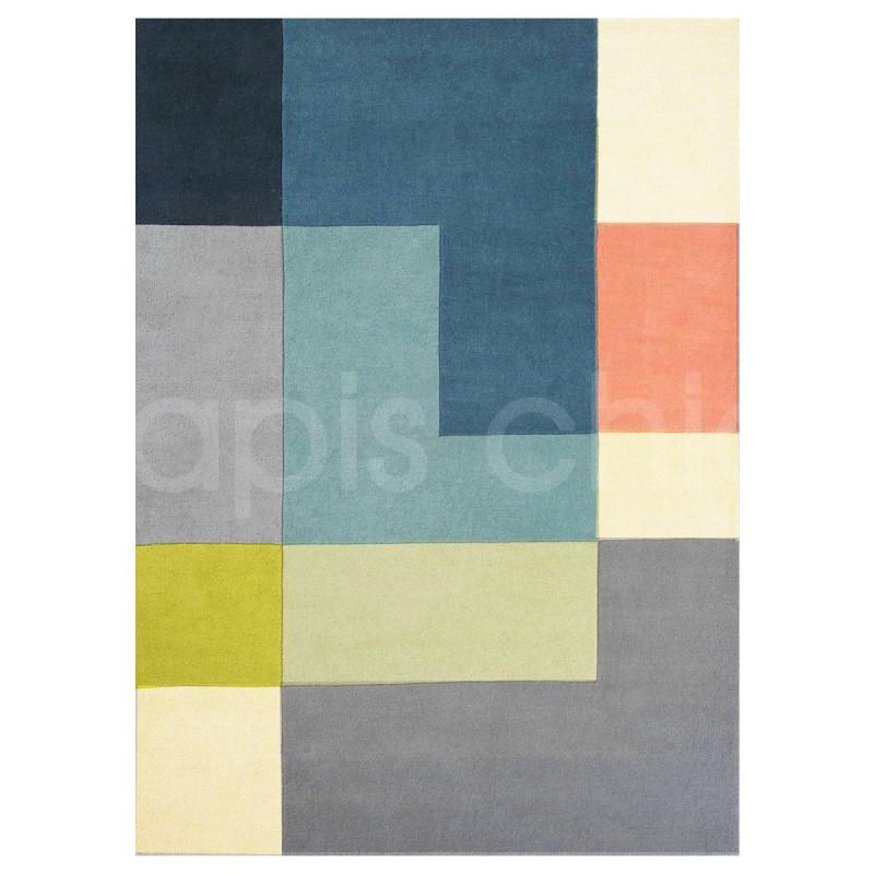 Tapis moderne Tetris Lime en laine