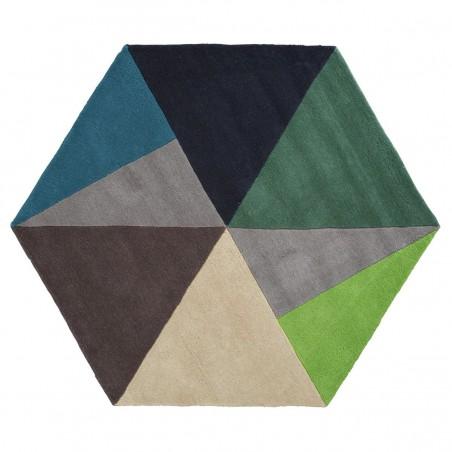 Tapis hexagonal Sato Petrol par Linie Design