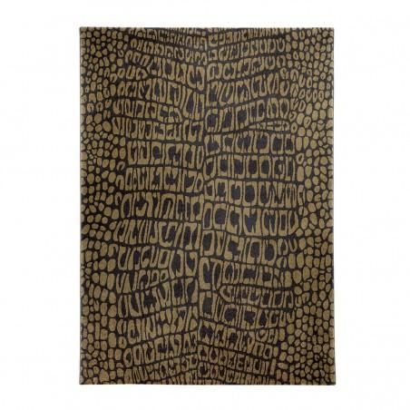 Tapis de salon Croco marron et Or African Safari par Wecon Home