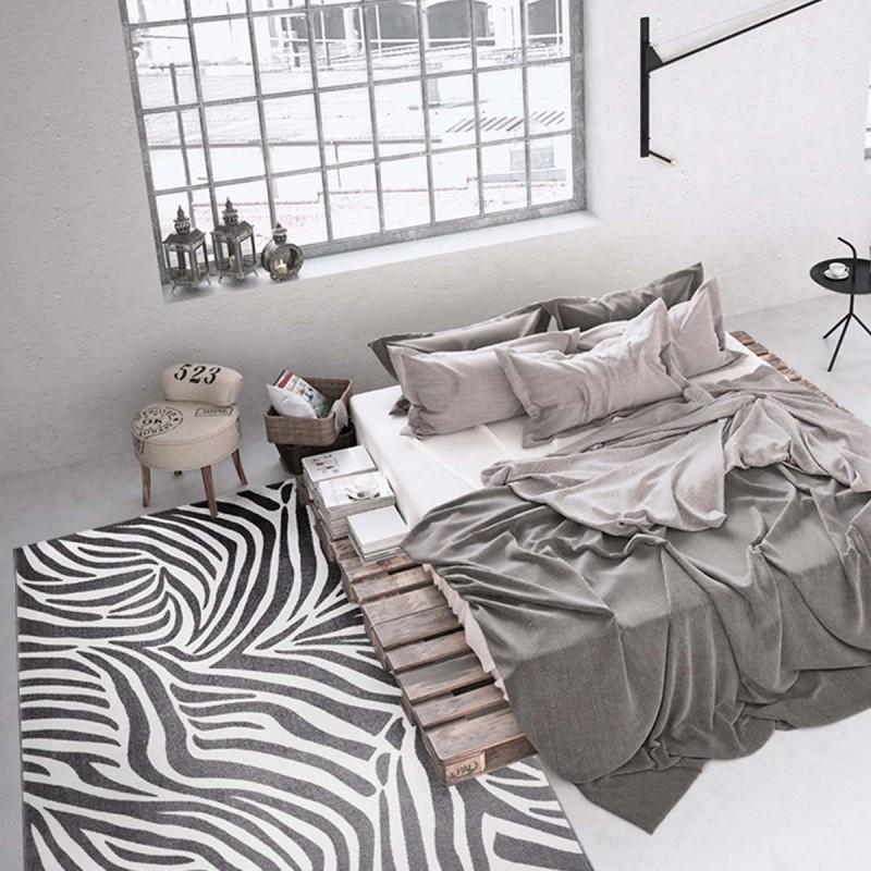 Tapis de salon Zebra gris African Safari par Tapis Chic collection