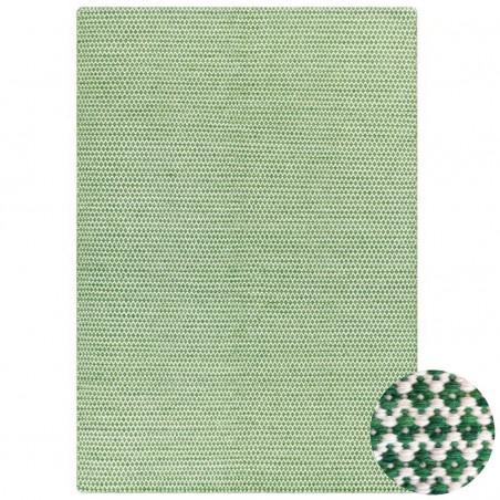 Tapis en laine Angelo vert Mic Mac fait à la main