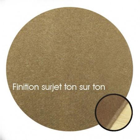 Tapis sur mesure Rond en laine Marron Vison gamme Velvet finition surjet