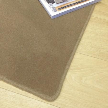 Tapis sur mesure en laine Marron Vison gamme Velvet finition surjet