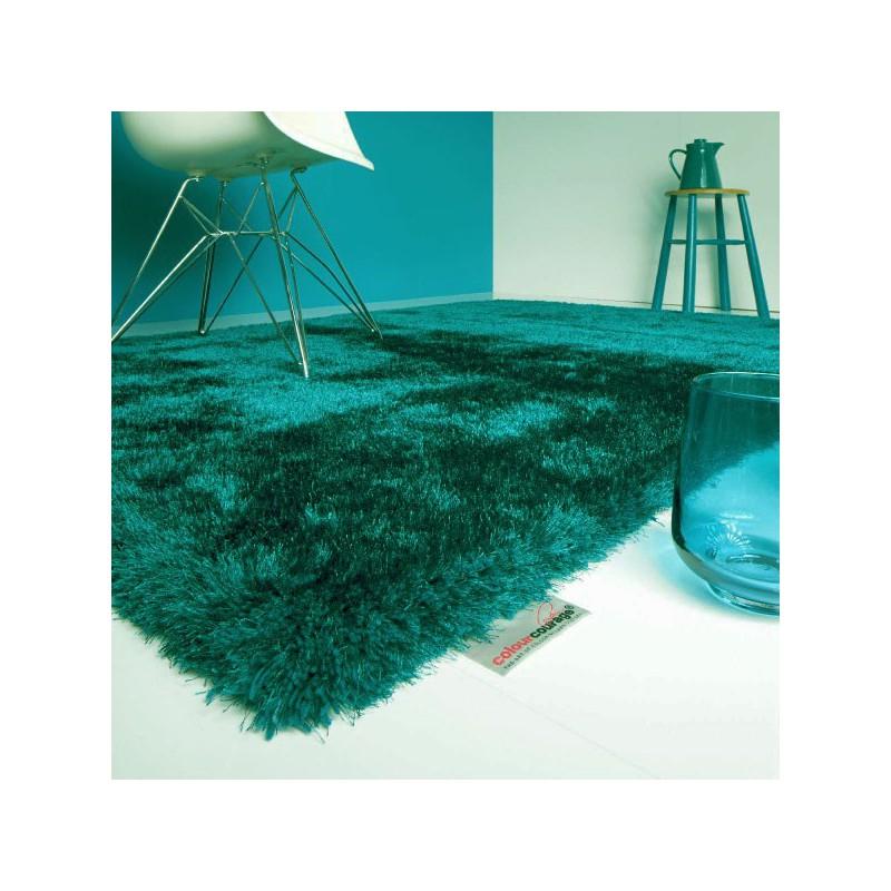 Tapis shaggy Bleu Vert en polyester par Tapis Chic Collection