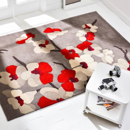 Tapis de salon Fleurs Blossom Rouge par Flair Rugs