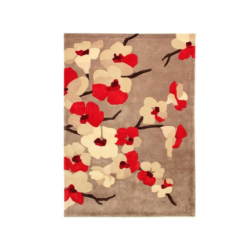 Tapis de salon Fleurs Blossom Rouge par Flair Rugs
