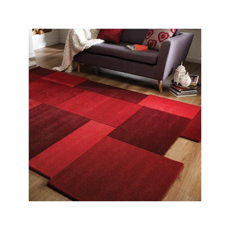 Tapis Collage déstructuré 100% laine rouge par Flair Rugs