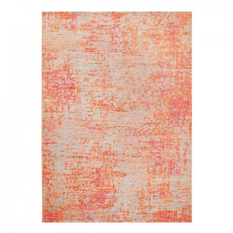 Tapis noué main Rouge Orange et Gris en laine et viscose par Ligne Pure