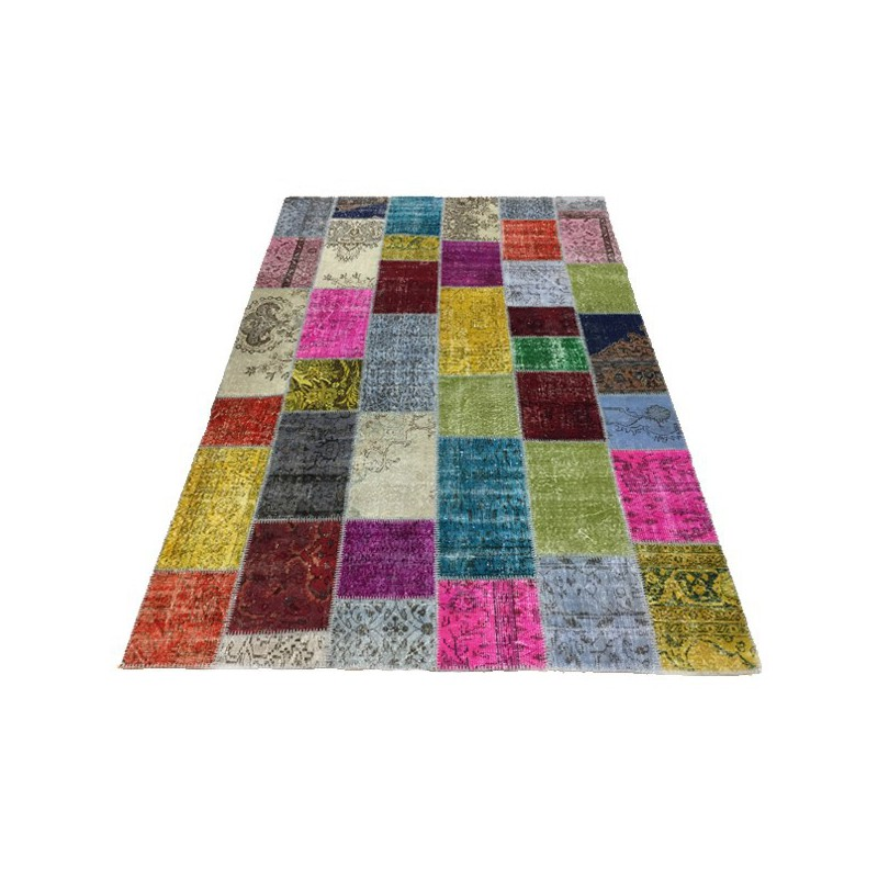 Tapis Patchwork Kilim Up-Cycle Multicolore par Angelo
