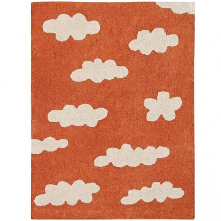 Tapis en coton lavable en machine Clouds Terracotta par Lorena Canals