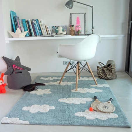 Tapis en coton lavable en machine Clouds Bleu par Lorena Canals