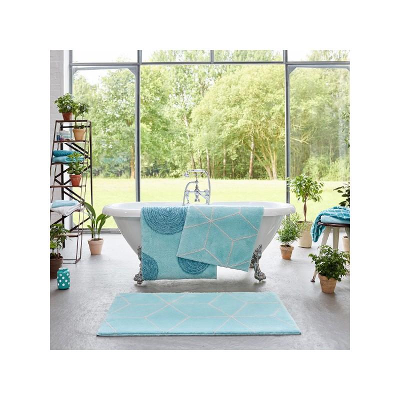 Tapis de Salle de Bain design Polygone Turquoise par Esprit Home
