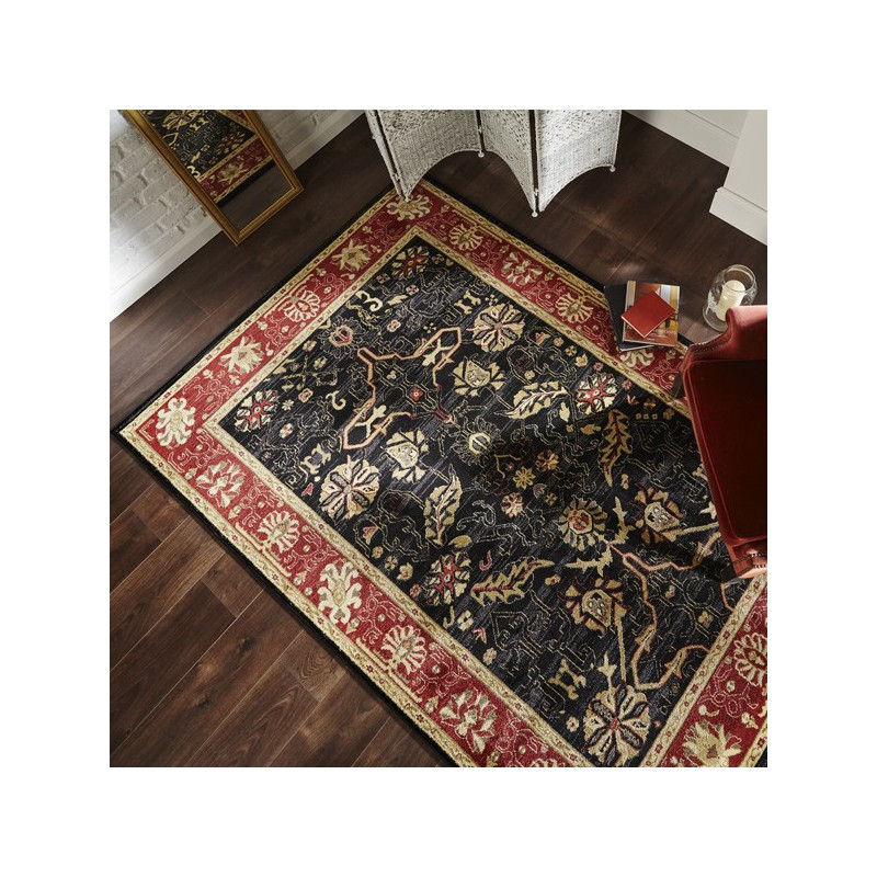 Tapis rectangulaire style persan doux par Flair Rugs Arak noir