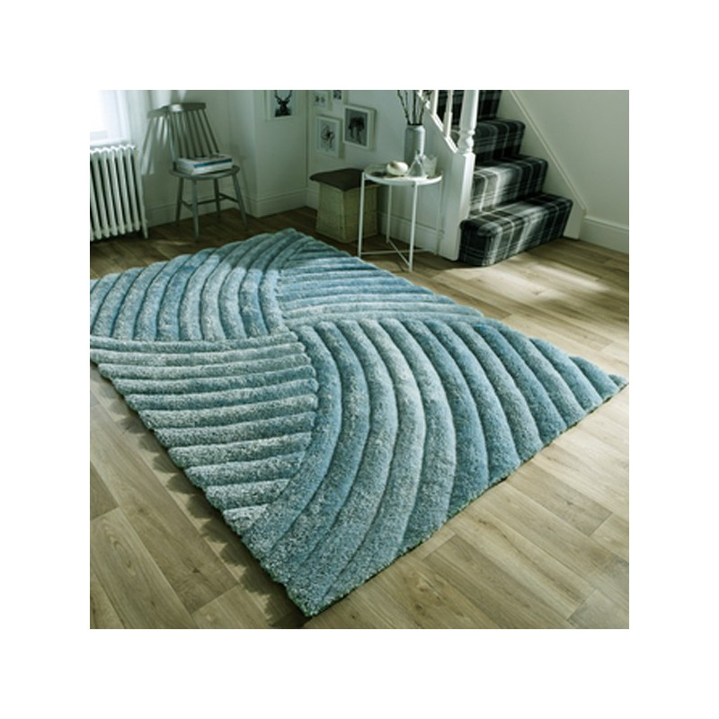tapis design furrow bleu canard par flair rugs. Black Bedroom Furniture Sets. Home Design Ideas