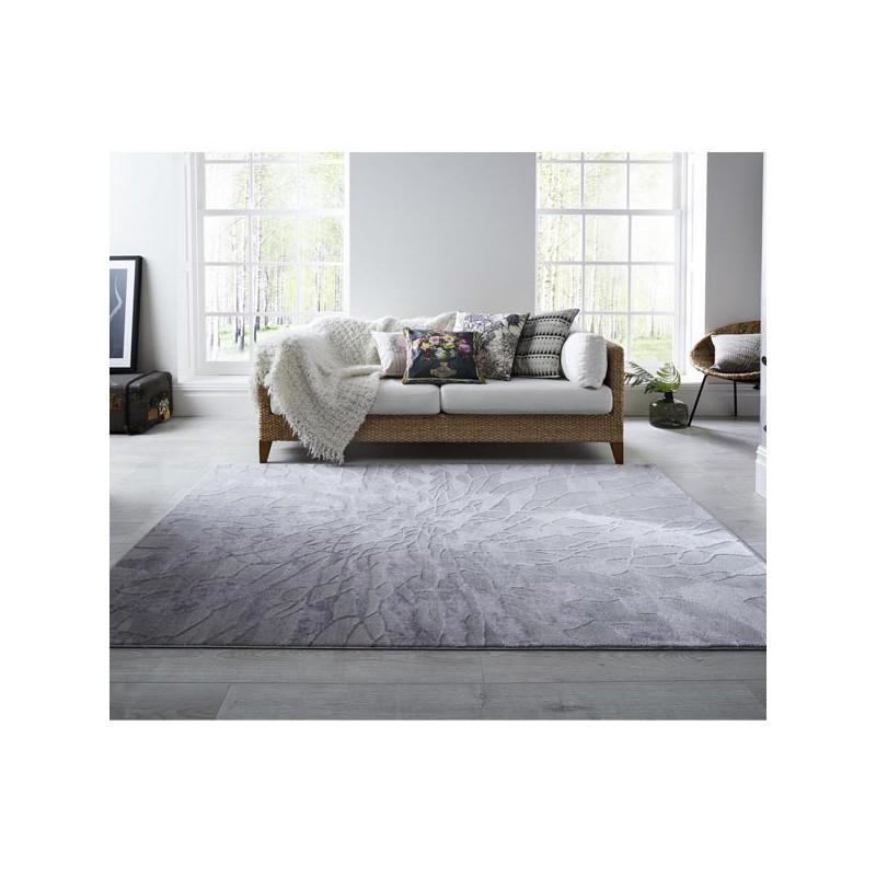Tapis Salon Moderne Gris en Laine Alpaca Suri Grey